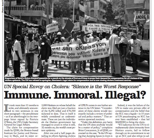 Immune. Immoral. Illegal? Cholera & Haiti