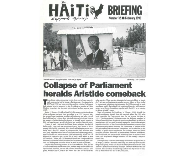 Collapse of Parliament Heralds Aristide Comeback (HB32)