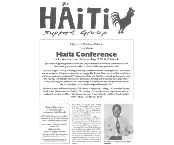 Mayor of Port-au-Prince to Address London Haiti Conference (HB3)